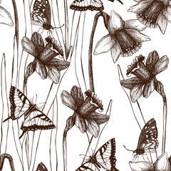 Seamless pattern with ink hand drawn  narcissus flowers and butterflies. Spring vintage background with lent lilies and butterflies. Wedding invitation design
