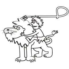 lion and a tamer, coloring page,