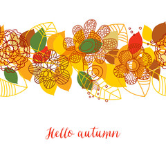 Autumn pattern, colorful leaves and flowers