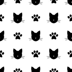 Cat head and paw prints seamless pattern