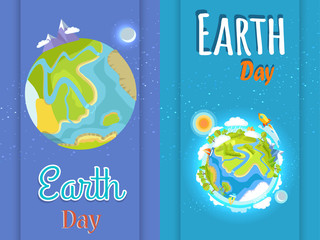 Earth Day Bright Posters with Planet Illustration