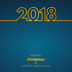 Blue Happy New Year 2018 Background. New Year and Xmas Design Element Template. Vector Illustration.
