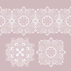 set of vector elements for design. white lace, doilies.