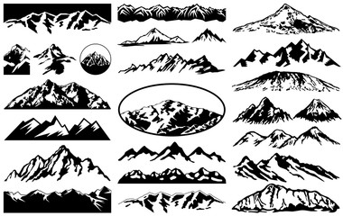 Vector collection of mountains landscape silhouettes and labels