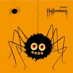 Happy Halloween card. Scary voracious Halloween spider. Vector Illustration