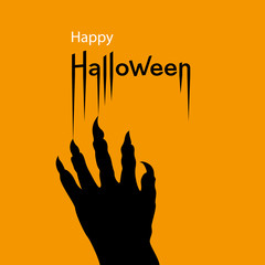 Happy Halloween card. Scary hand with sharp nails on orange Halloween background. Vector Illustration