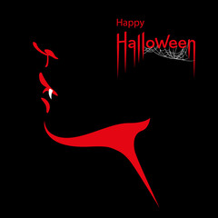 Happy Halloween card. Face profile with scary vampire fangs and Happy Halloween text. Vector Illustration