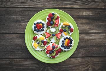 Mini Fruit Pizzas with Colorful Fresh Fruit