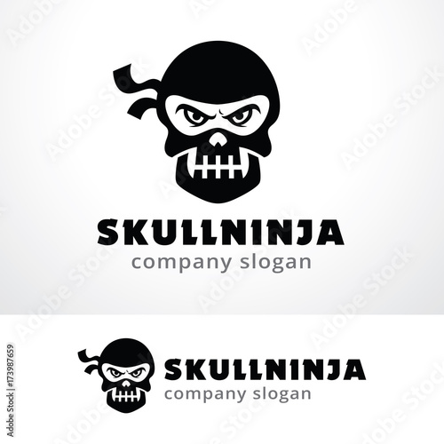 skull ninja logo template design vector emblem design concept