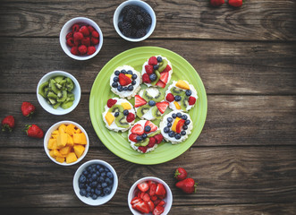Mini Fruit Pizzas with Colorful Fresh Fruit