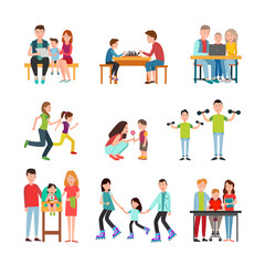 Parents Spend Time with Children Illustrations Set