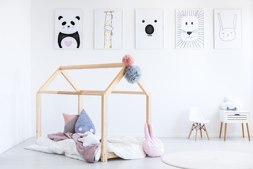 Scandi kid's bedroom with posters