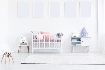 White posters in girl's bedroom