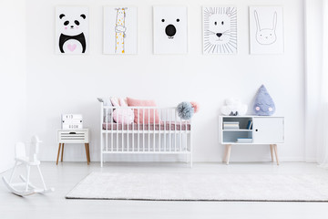 Girl's bedroom with rocking horse