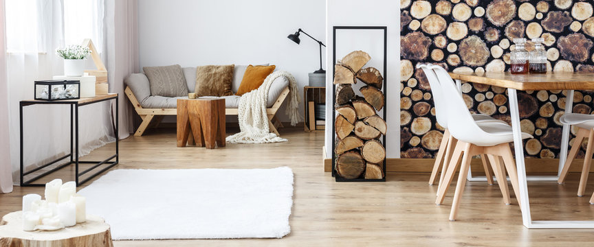 Multifunctional room with log motif