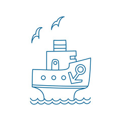 Vector illustration of cartoon ship with anchor and gull.