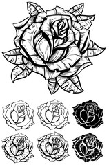 Black and white graphic realistic detailed rose