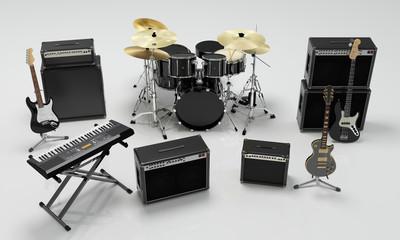 isolated music band equipment