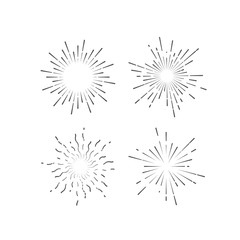 Outline firework explosion shapes isolated on white.