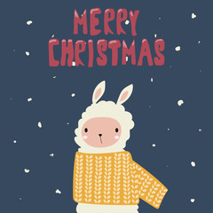 Merry christmas holiday card with llama. Vector hand drawn illustration.