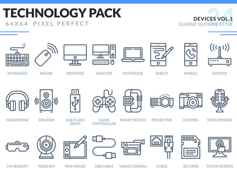 Devices Icons Set. Editable Stroke. Technology outline icons pack. Pixel perfect thin line vector icons for web design and website application.