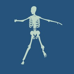 Human skeleton in fighting pose. Halloween party design template