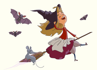 Young witch flying on a broom with a mouse, bats. Vector isolated on white
