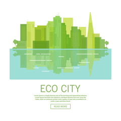 City landscape of the environmentally friendly downtown with skyscrapers.Green clean ecology future.Preservation environmental conservation.urban concept of design  websites and mobile applications