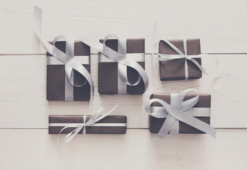 Top view of present boxes on white with copy space