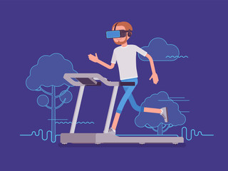 VR man running on track
