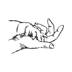 hand of baby on mother vector illustration sketch hand drawn with black lines, isolated on white background
