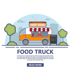 The truck with food.Trading in hot dogs.Street food.Cooking in the van.Fast-food car.Design concept posters and banners on the websites on delivery  for a mobile application.A vector in flat linear
