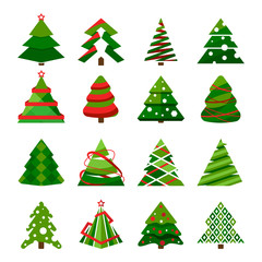 Christmas tree in different styles. Vector set of stylized illustrations