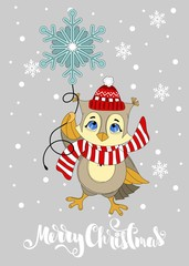 Greeting card with a Christmas owl. Merry Christmas hand drawn lettering.