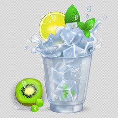 Faceted Glass of Mojito with Ice Illustration
