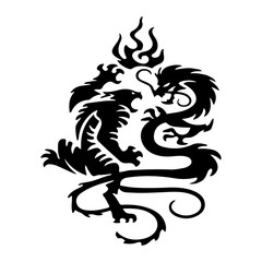 Black Silhouette Fighting tiger and dragon, tattoo isolated on white background.