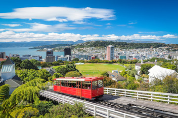Wellington Cable Car, the landmark of New Zealand. Wall mural