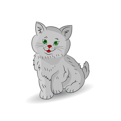 Cute gray kitten sitting, cartoon on a white background.
