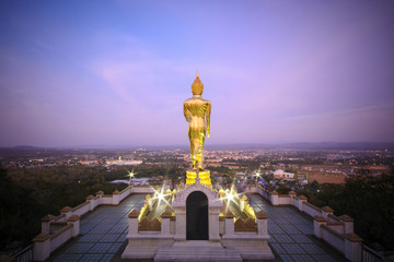 Wat Phra That Khao Noi,View point,Golden Buddha statue standing on a mountain,Nan, Thailand,