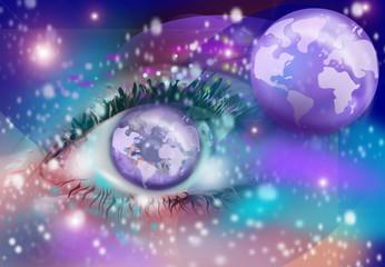 Uno sguardo sul mondo, illustrazione fantasiosa.