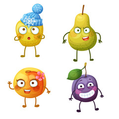 Funny fruit characters isolated on white background. Cheerful food emoji. Cartoon vector illustration: winter yellow apple, sweet peach, green pear, cool plum