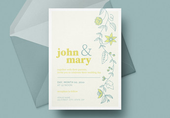 Lemon and Floral Wedding Invitation