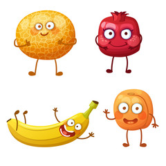 Funny fruit characters isolated on white background. Cheerful food emoji. Cartoon vector illustration: cool melon, pretty pomegranate, cute banana, affable apricot