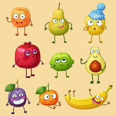 Funny fruit characters isolated on white background. Cheerful food emoji. Cartoon vector illustration: green pear, apple, funny banana, lime, cute tangerine, apricot, pomegranate, avocado half, plum