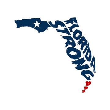 Florida Strong Map Logo Grunge Design