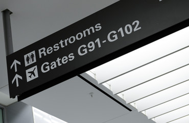 Black airport sign