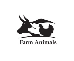 monochrome label of farm animals cow, pig and chicken
