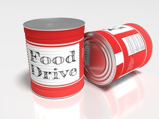 Two red cans on white with a label showing food drive