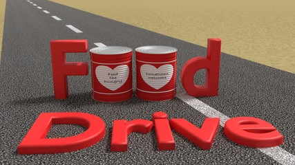 The words food drive on a road with tin cans