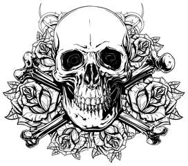 Graphic human skull with crossed bones and roses